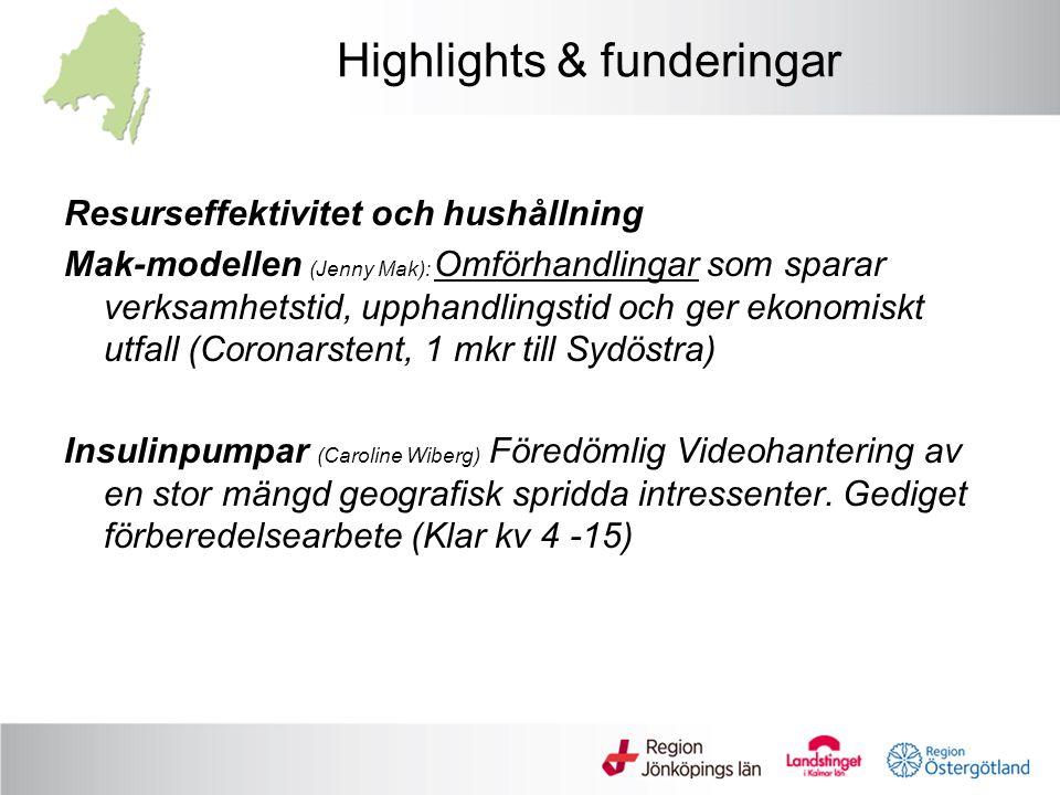 Highlights & funderingar Resurseffektivitet och hushållning Mak-modellen (Jenny Mak): Omförhandlingar som sparar verksamhetstid, upphandlingstid och g