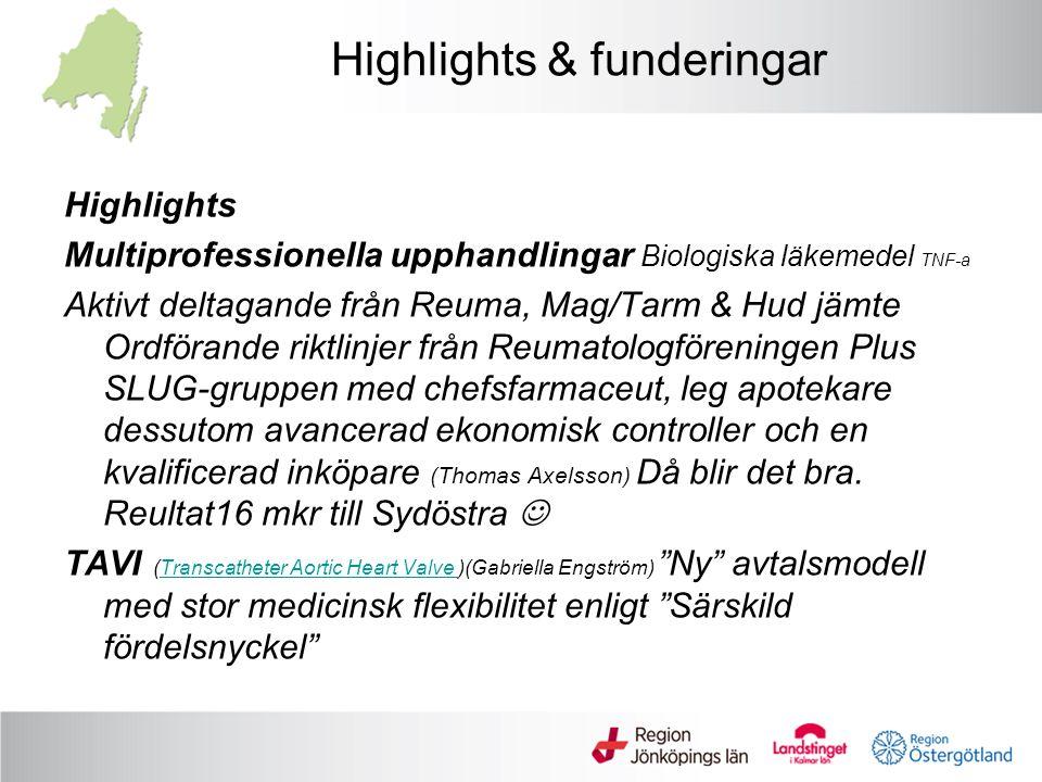 Highlights & funderingar Highlights Multiprofessionella upphandlingar Biologiska läkemedel TNF-a Aktivt deltagande från Reuma, Mag/Tarm & Hud jämte Or