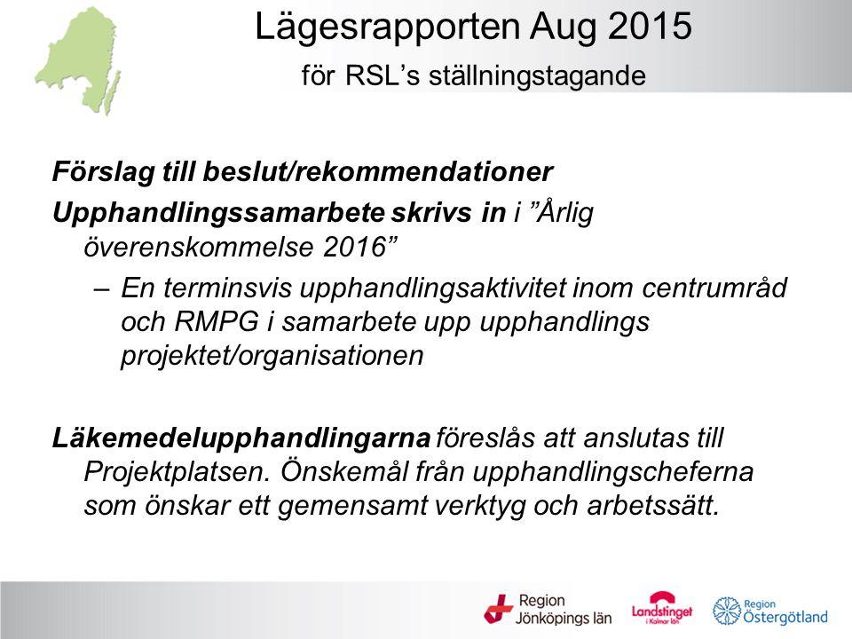 """Lägesrapporten Aug 2015 för RSL's ställningstagande Förslag till beslut/rekommendationer Upphandlingssamarbete skrivs in i """"Årlig överenskommelse 2016"""