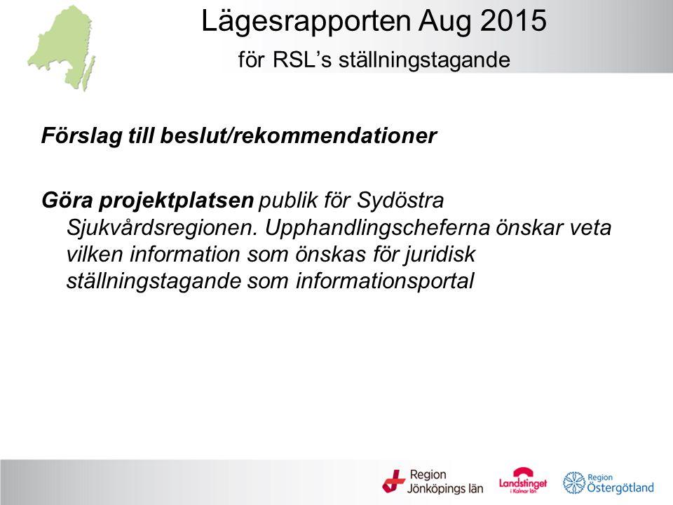 Lägesrapporten Aug 2015 för RSL's ställningstagande Förslag till beslut/rekommendationer Göra projektplatsen publik för Sydöstra Sjukvårdsregionen.