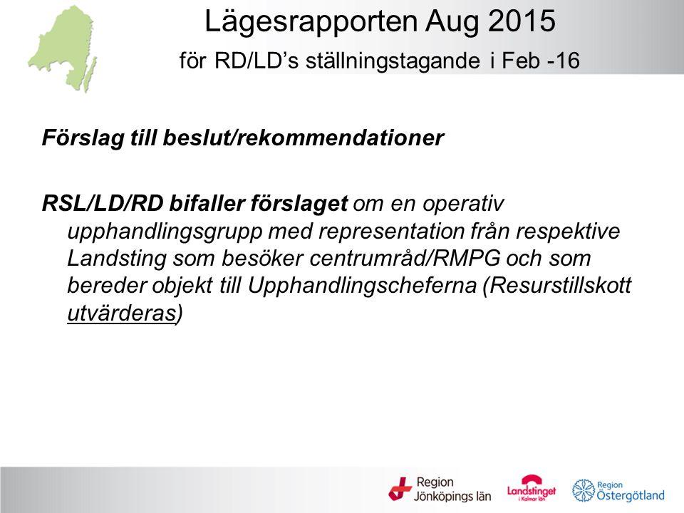 Lägesrapporten Aug 2015 för RD/LD's ställningstagande i Feb -16 Förslag till beslut/rekommendationer RSL/LD/RD bifaller förslaget om en operativ upphandlingsgrupp med representation från respektive Landsting som besöker centrumråd/RMPG och som bereder objekt till Upphandlingscheferna (Resurstillskott utvärderas)