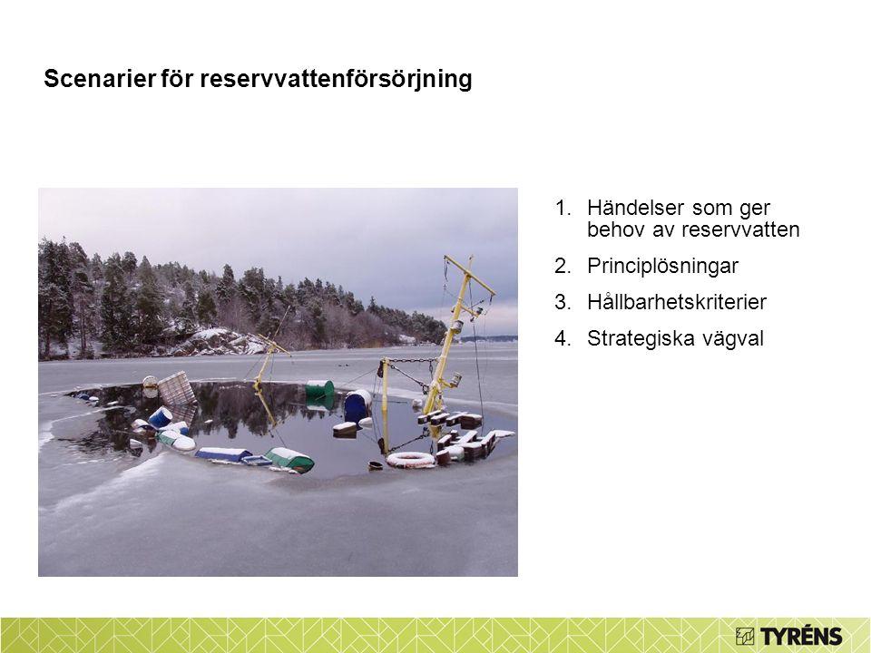 1.Händelser som ger behov av reservvatten 2.Principlösningar 3.Hållbarhetskriterier 4.Strategiska vägval Scenarier för reservvattenförsörjning