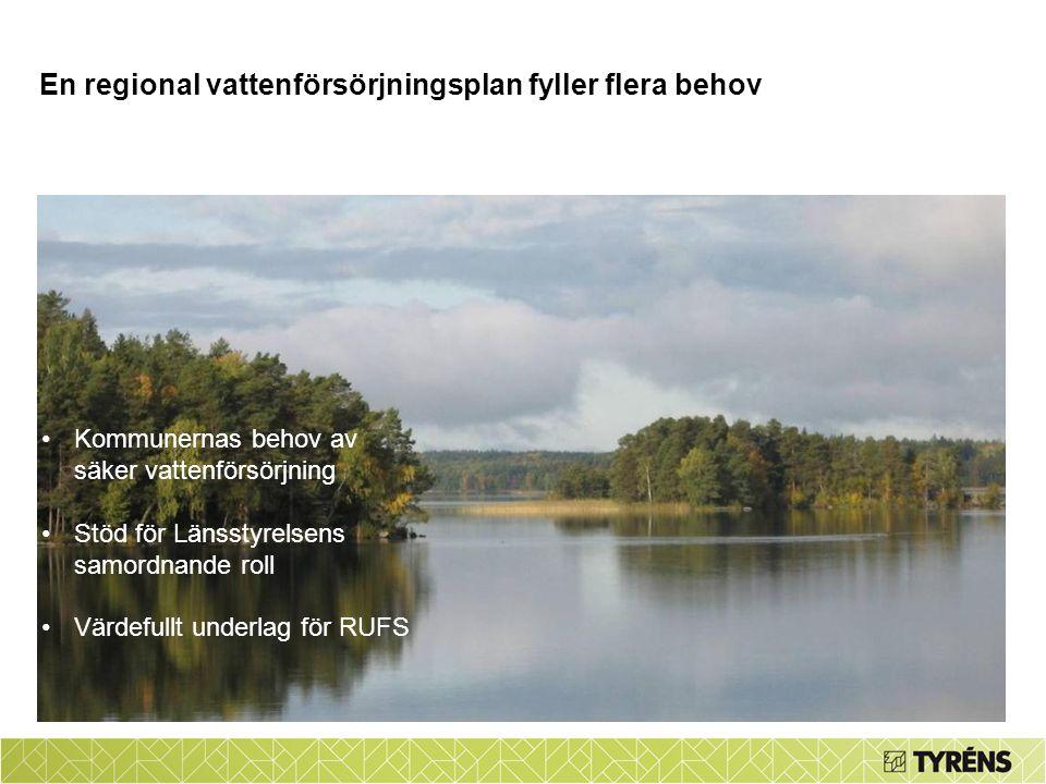 Kommunernas behov av säker vattenförsörjning Stöd för Länsstyrelsens samordnande roll Värdefullt underlag för RUFS En regional vattenförsörjningsplan fyller flera behov