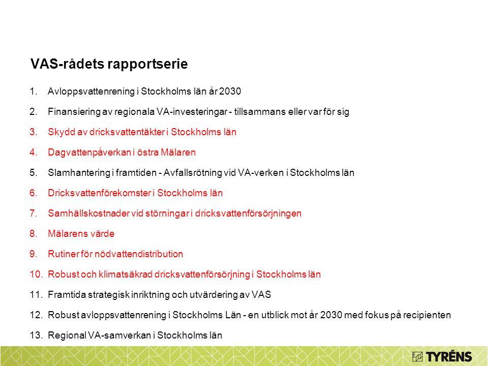 VAS-rådets rapportserie 1.Avloppsvattenrening i Stockholms län år 2030 2.Finansiering av regionala VA-investeringar - tillsammans eller var för sig 3.