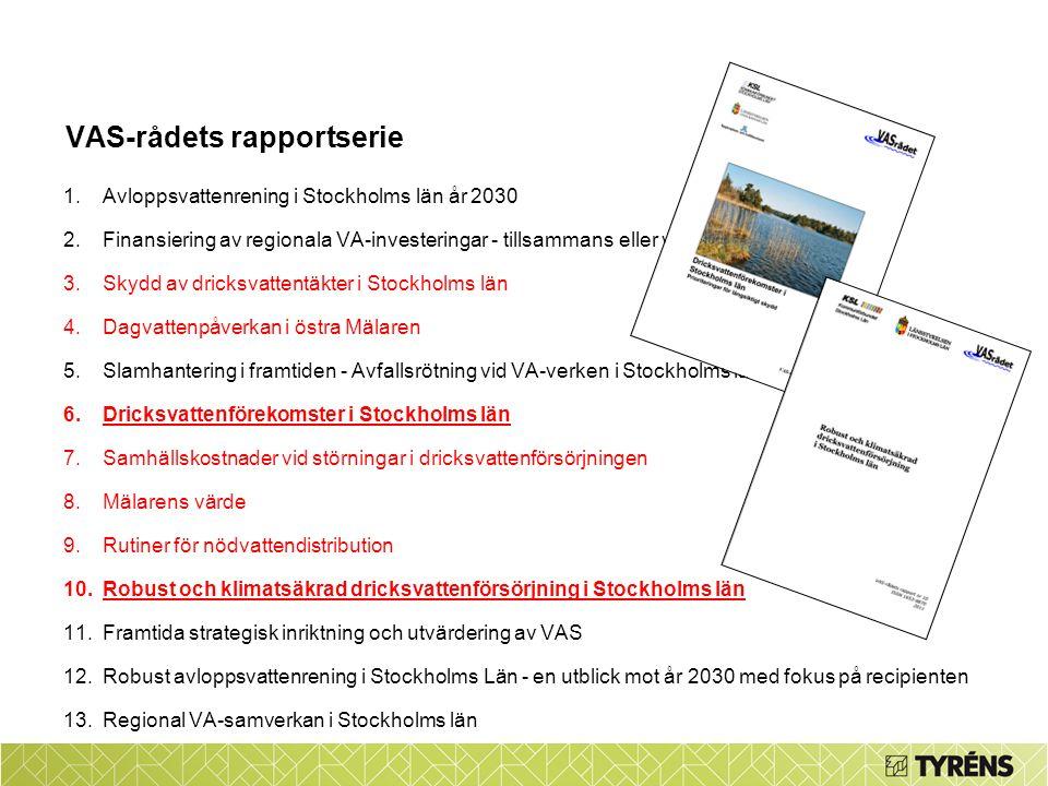 VAS-rådets rapportserie 1.Avloppsvattenrening i Stockholms län år 2030 2.Finansiering av regionala VA-investeringar - tillsammans eller var för sig 3.Skydd av dricksvattentäkter i Stockholms län 4.Dagvattenpåverkan i östra Mälaren 5.Slamhantering i framtiden - Avfallsrötning vid VA-verken i Stockholms län 6.Dricksvattenförekomster i Stockholms län 7.Samhällskostnader vid störningar i dricksvattenförsörjningen 8.Mälarens värde 9.Rutiner för nödvattendistribution 10.Robust och klimatsäkrad dricksvattenförsörjning i Stockholms län 11.Framtida strategisk inriktning och utvärdering av VAS 12.Robust avloppsvattenrening i Stockholms Län - en utblick mot år 2030 med fokus på recipienten 13.Regional VA-samverkan i Stockholms län