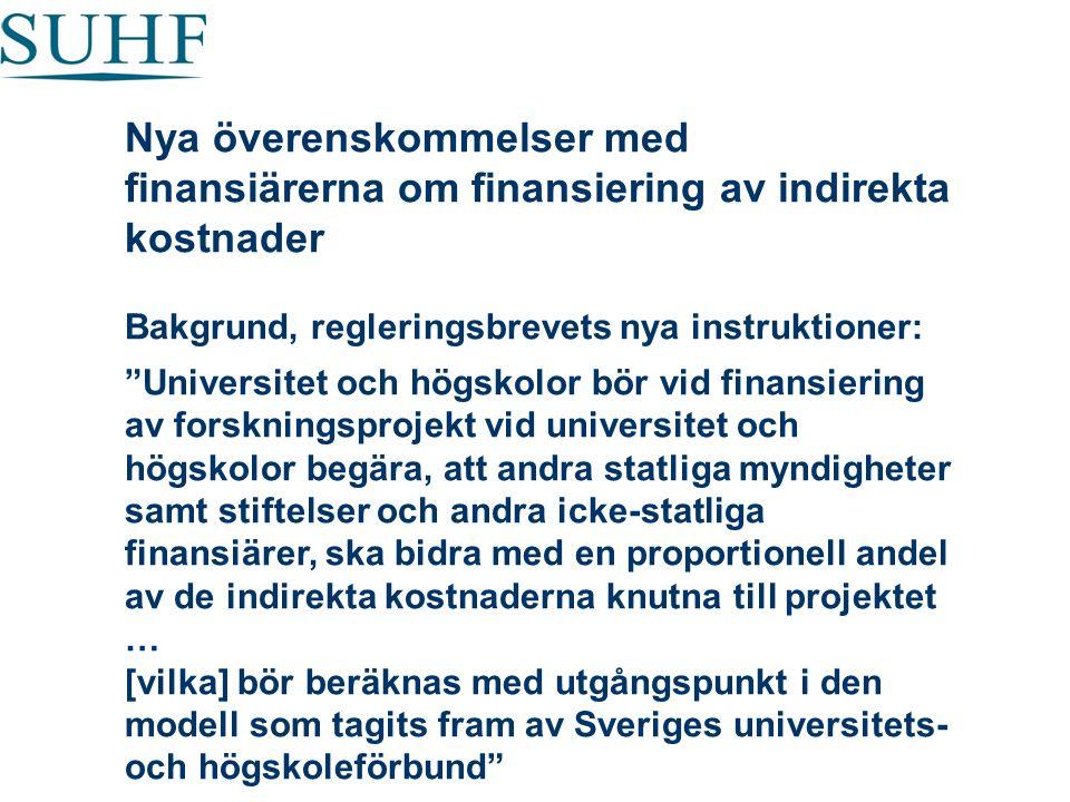 """Nya överenskommelser med finansiärerna om finansiering av indirekta kostnader Bakgrund, regleringsbrevets nya instruktioner: """"Universitet och högskolo"""