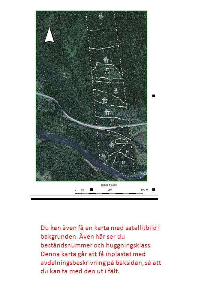 Du kan även få en karta med satellitbild i bakgrunden. Även här ser du beståndsnummer och huggningsklass. Denna karta går att få inplastat med avdelni