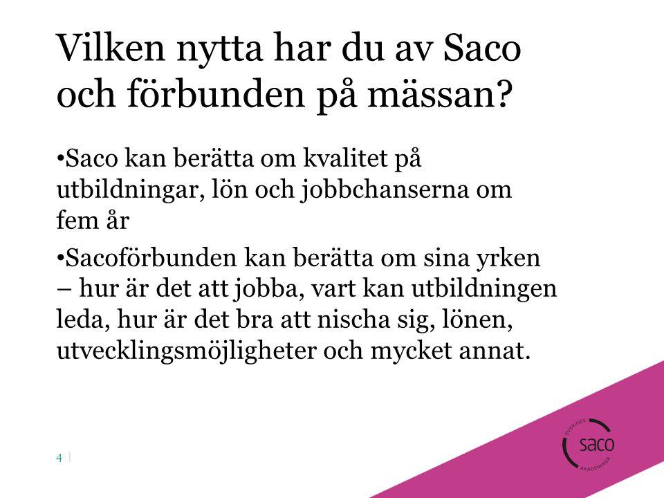 Vilken nytta har du av Saco och förbunden på mässan.