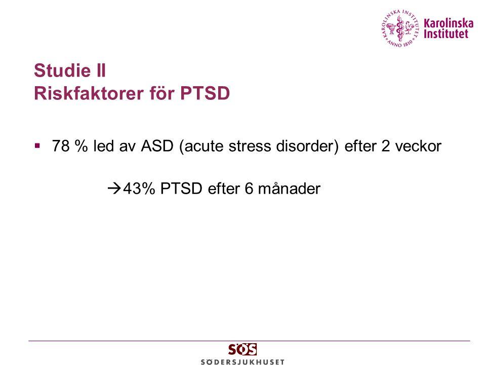 Studie II Riskfaktorer för PTSD  78 % led av ASD (acute stress disorder) efter 2 veckor  43% PTSD efter 6 månader