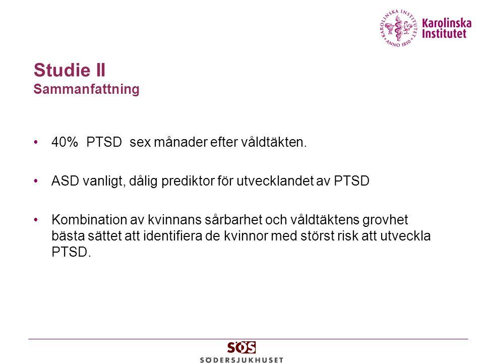 Studie II Sammanfattning 40% PTSD sex månader efter våldtäkten.
