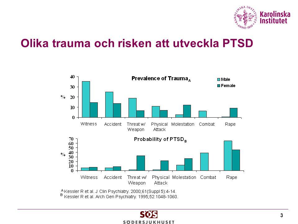 Olika trauma och risken att utveckla PTSD 3