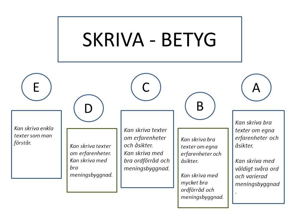 SKRIVA - BETYG EC A D B Kan skriva enkla texter som man förstår.