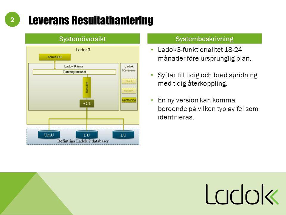 2 SystemöversiktSystembeskrivning Ladok3-funktionalitet 18-24 månader före ursprunglig plan.