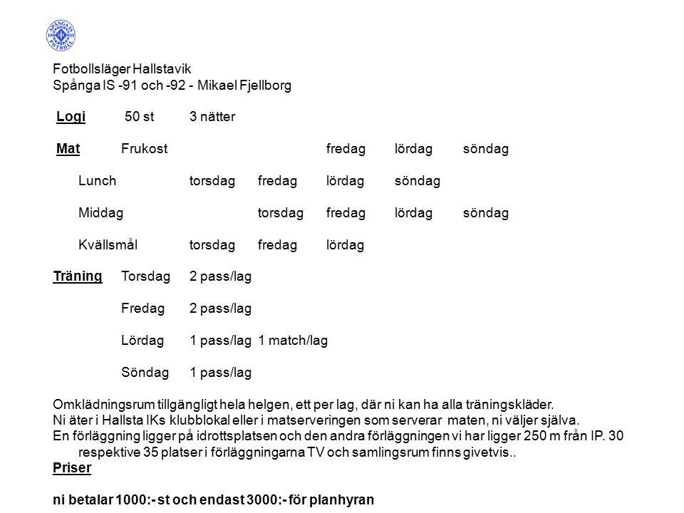Fotbollsläger Hallstavik Spånga IS -91 och -92 - Mikael Fjellborg Logi 50 st3 nätter MatFrukostfredaglördagsöndag Lunchtorsdagfredaglördagsöndag Middagtorsdagfredaglördagsöndag Kvällsmåltorsdagfredaglördag TräningTorsdag2 pass/lag Fredag2 pass/lag Lördag1 pass/lag1 match/lag Söndag1 pass/lag Omklädningsrum tillgängligt hela helgen, ett per lag, där ni kan ha alla träningskläder.