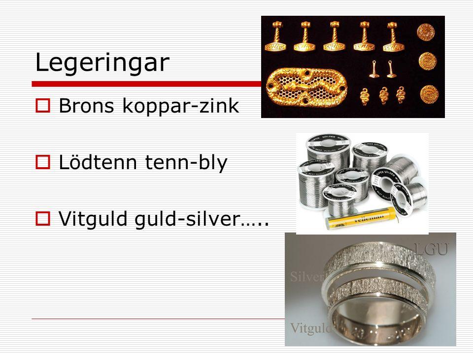 Legeringar  Brons koppar-zink  Lödtenn tenn-bly  Vitguld guld-silver…..
