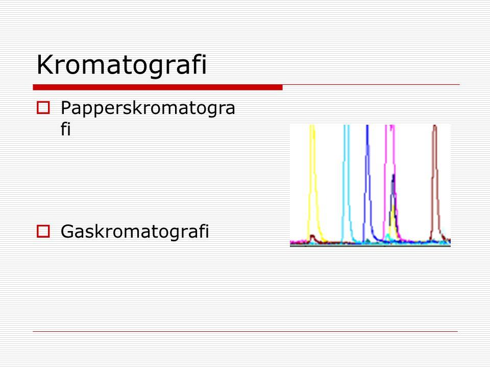 Kromatografi  Papperskromatogra fi  Gaskromatografi
