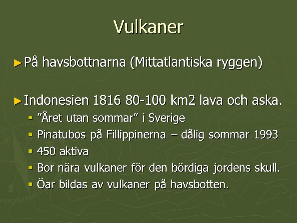 """Vulkaner ► På havsbottnarna (Mittatlantiska ryggen) ► Indonesien 1816 80-100 km2 lava och aska.  """"Året utan sommar"""" i Sverige  Pinatubos på Fillippi"""