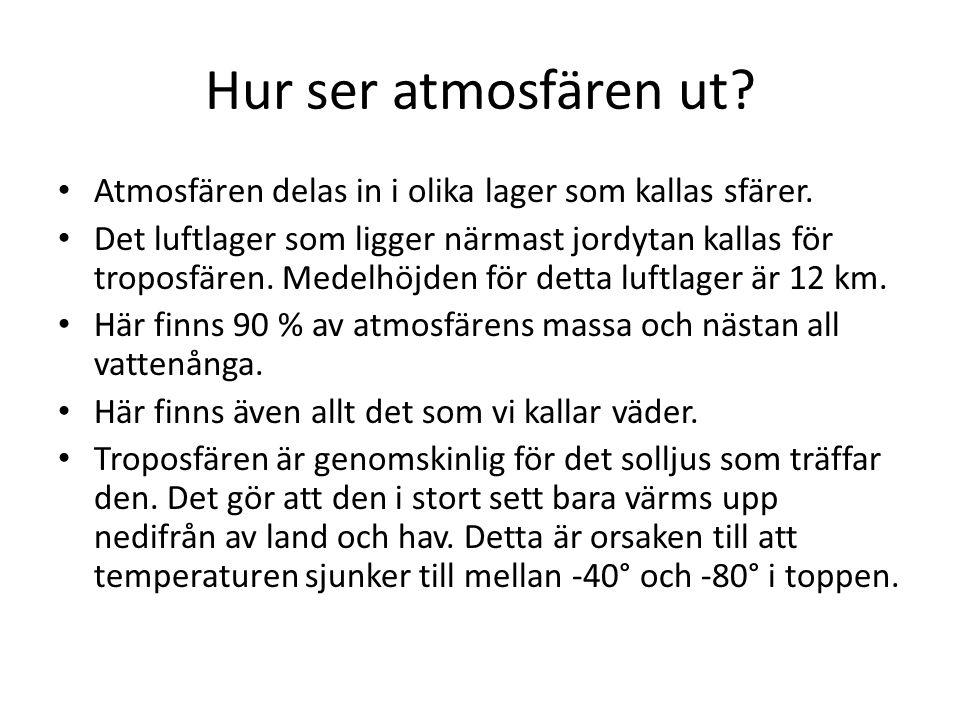 Hur ser atmosfären ut. Atmosfären delas in i olika lager som kallas sfärer.
