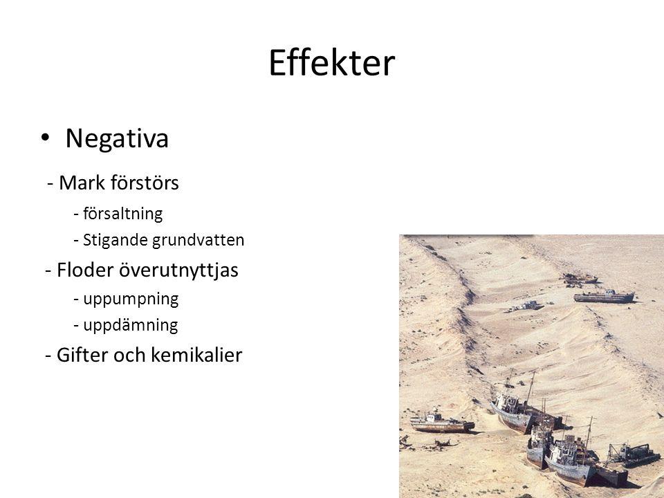 Effekter Negativa - Mark förstörs - försaltning - Stigande grundvatten - Floder överutnyttjas - uppumpning - uppdämning - Gifter och kemikalier