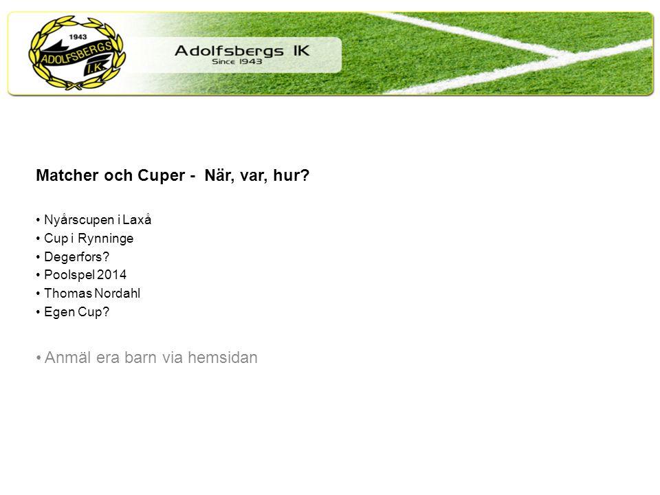 Matcher och Cuper - När, var, hur. Nyårscupen i Laxå Cup i Rynninge Degerfors.