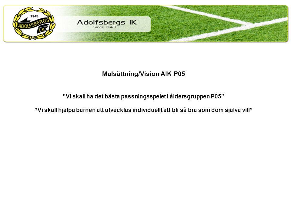 Målsättning/Vision AIK P05 Vi skall ha det bästa passningsspelet i åldersgruppen P05 Vi skall hjälpa barnen att utvecklas individuellt att bli så bra som dom själva vill