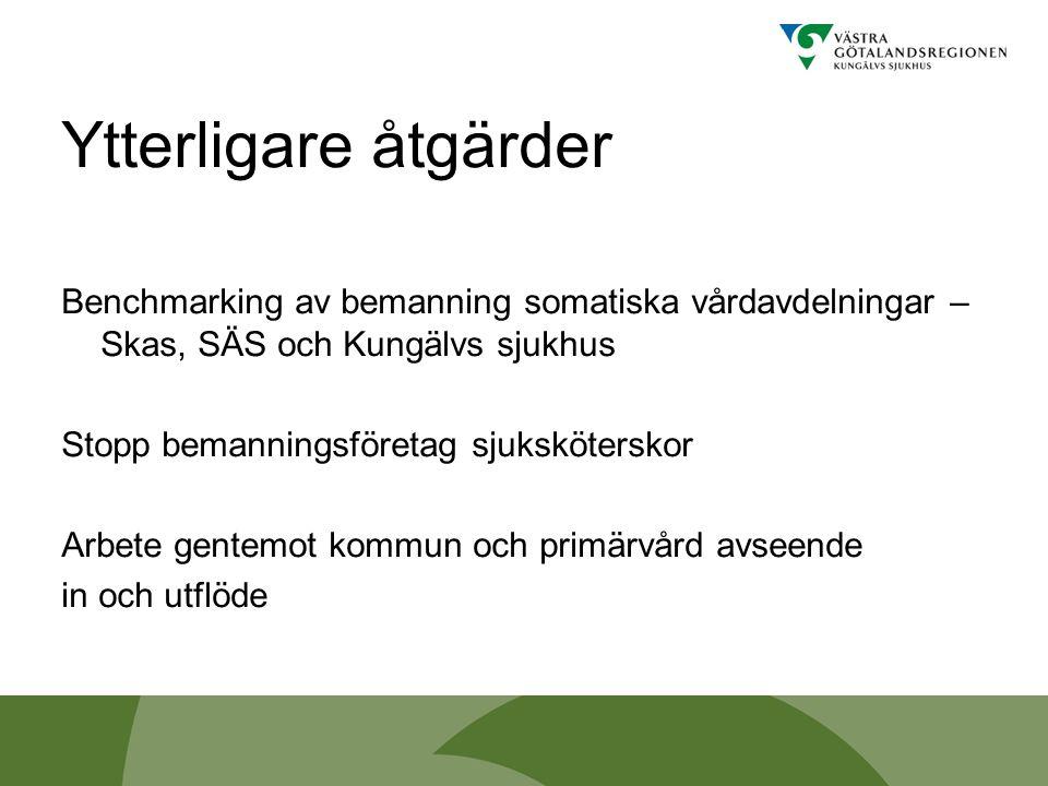 Ytterligare åtgärder Benchmarking av bemanning somatiska vårdavdelningar – Skas, SÄS och Kungälvs sjukhus Stopp bemanningsföretag sjuksköterskor Arbet