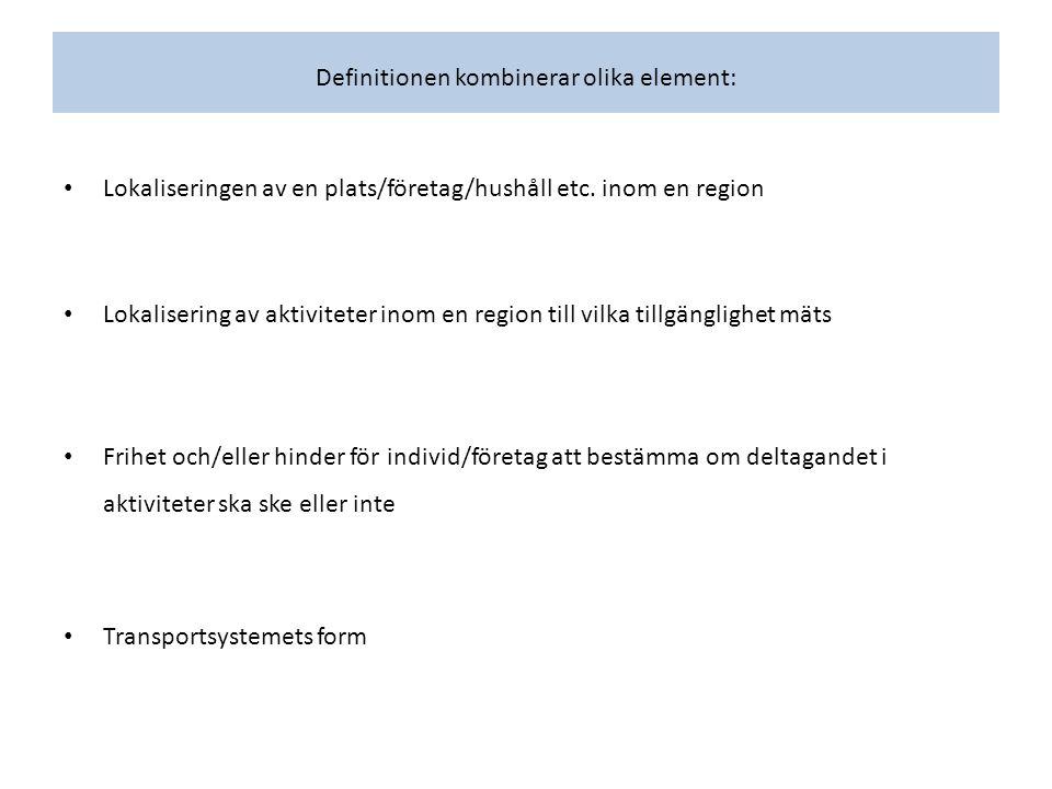 Definitionen kombinerar olika element: Lokaliseringen av en plats/företag/hushåll etc.