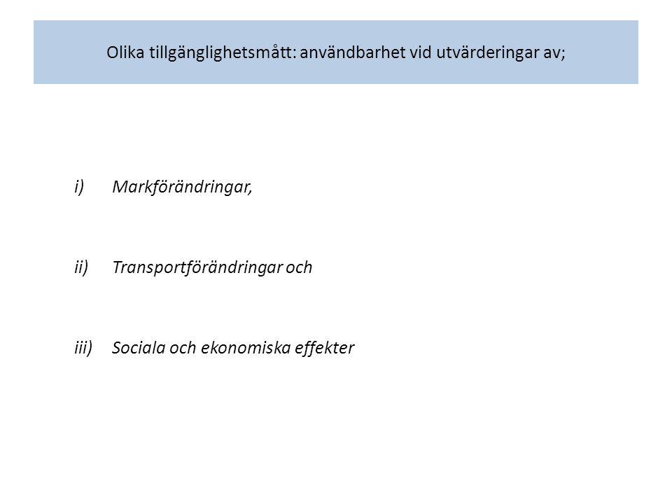Olika tillgänglighetsmått: användbarhet vid utvärderingar av; i)Markförändringar, ii)Transportförändringar och iii)Sociala och ekonomiska effekter