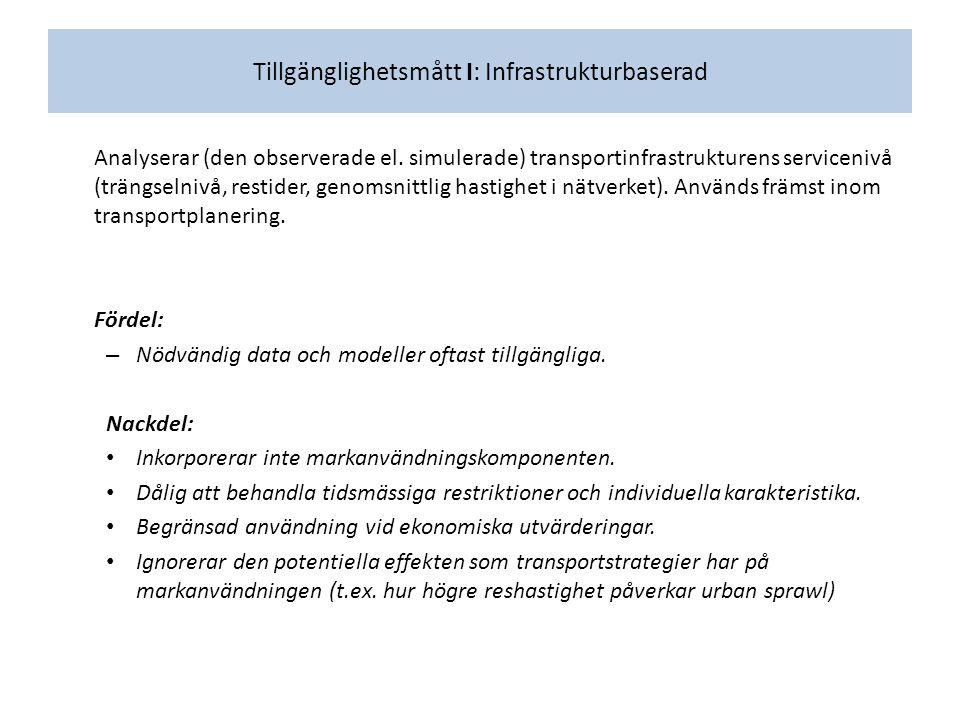 Tillgänglighetsmått I: Infrastrukturbaserad Analyserar (den observerade el.