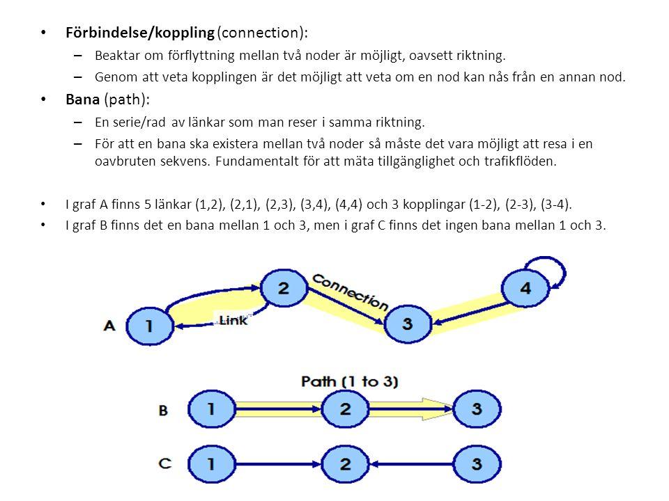 Förbindelse/koppling (connection): – Beaktar om förflyttning mellan två noder är möjligt, oavsett riktning.