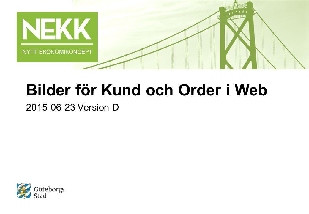 NEKK | Bilder Kund och Order WEB | 2015-06-23 2 InnehållBild Startsida Web3 Kund – nyupplägg4-9 Kund - söka/ändra och kundcentralen10-20 Försäljningsorder - Registrera och underhålla21-27 Försäljningsorder - Kopiera28-30 Koppla dokument till försäljningsorder31 Faktura – ändra anståndsdatum och status32 Fakturakopia33 Attestera försäljningsorder34-35 Rapporter Kund och Order Web36-45 Ändringslogg sedan version C Bild 9 – förtydligande om övriga relationer ej skall fyllas i Bild 11 – tillägg om avancerad sökning Bild 12 – tillägg om adressändring Bild 17 – tillägg om påminnelse Bild 20 – tillägg om utbetalningar Bild 23, 24 – tillägg om ändring av status Bild 25 – tillägg om ändring av status och borttag/ändring av artikel och ändring av specrad.