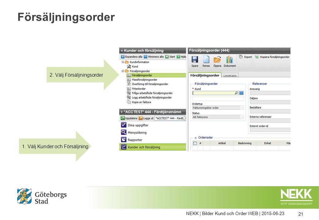 NEKK | Bilder Kund och Order WEB | 2015-06-23 21 Försäljningsorder 1. Välj Kunder och Försäljning 2. Välj Försäljningsorder