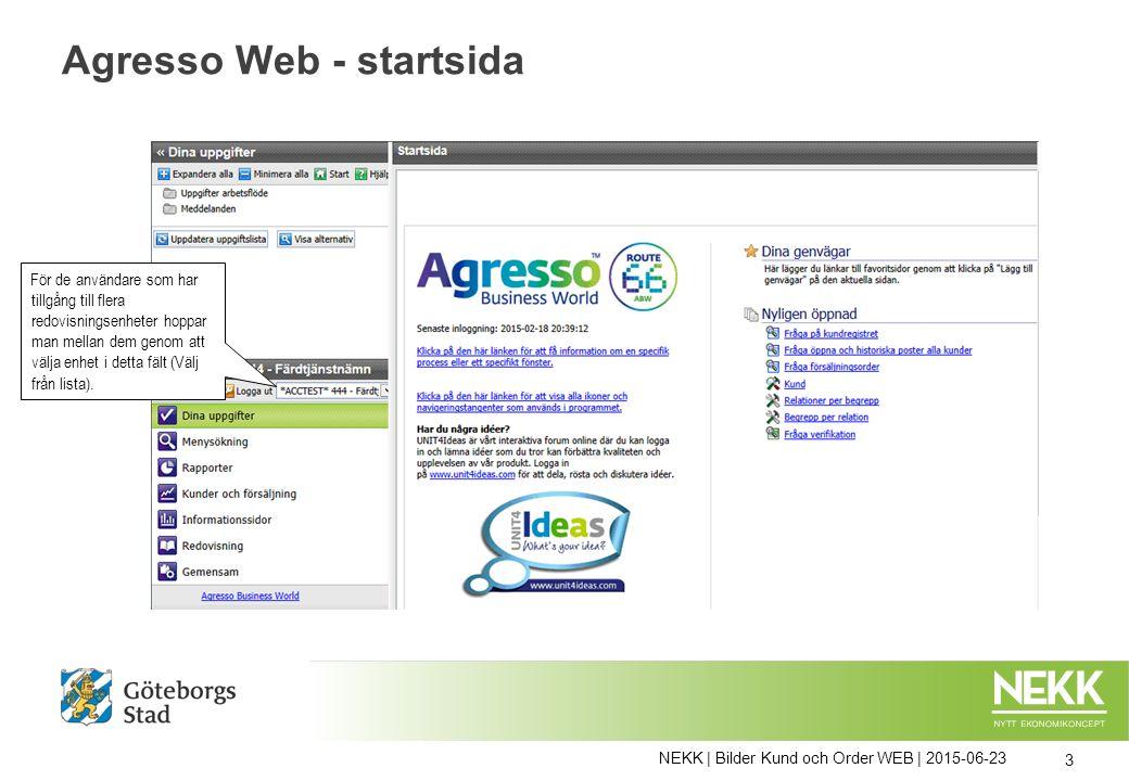 NEKK | Bilder Kund och Order WEB | 2015-06-23 3 Agresso Web - startsida För de användare som har tillgång till flera redovisningsenheter hoppar man me