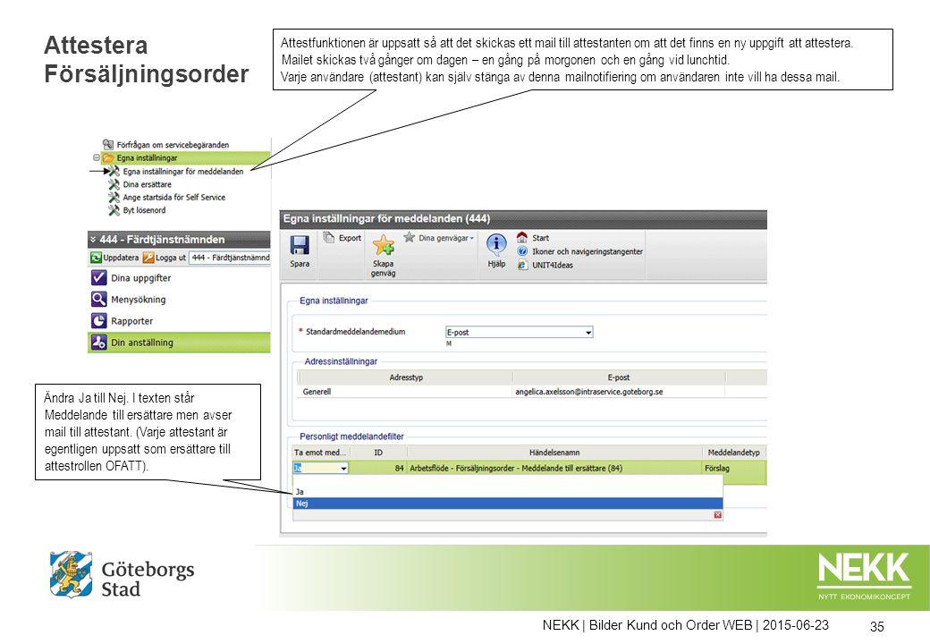 NEKK | Bilder Kund och Order WEB | 2015-06-23 35 Attestera Försäljningsorder Attestfunktionen är uppsatt så att det skickas ett mail till attestanten