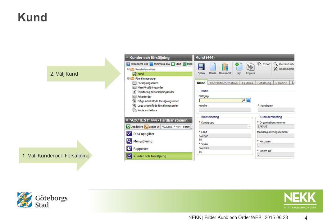 NEKK | Bilder Kund och Order WEB | 2015-06-23 35 Attestera Försäljningsorder Attestfunktionen är uppsatt så att det skickas ett mail till attestanten om att det finns en ny uppgift att attestera.