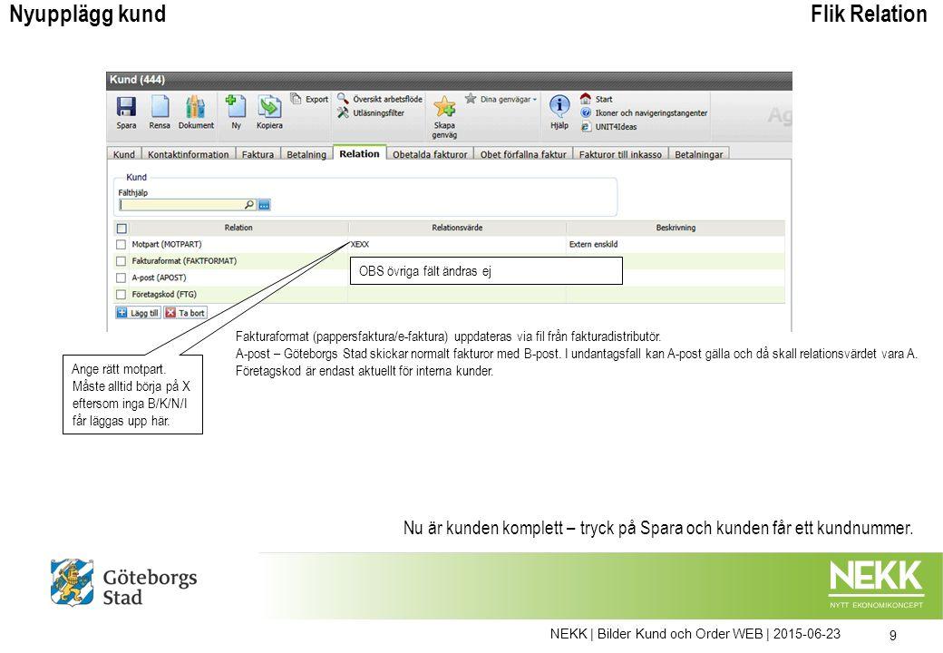 NEKK | Bilder Kund och Order WEB | 2015-06-23 30 Vid kreditering kan den ursprungliga debetordern kopieras och tecken bytas på beloppet.
