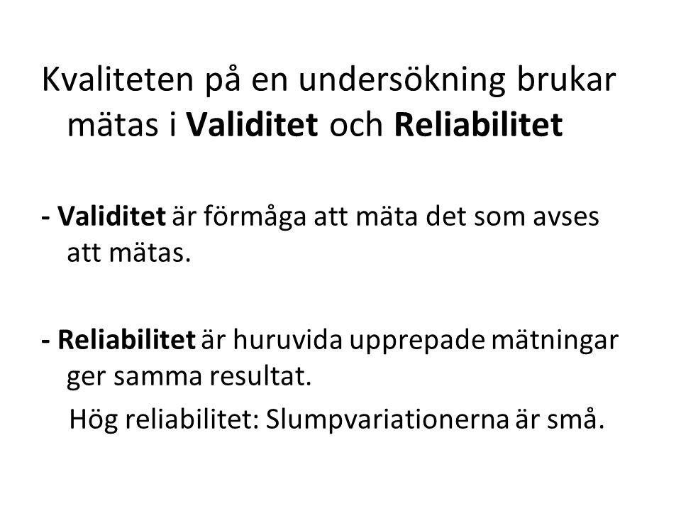 Kvaliteten på en undersökning brukar mätas i Validitet och Reliabilitet - Validitet är förmåga att mäta det som avses att mätas.