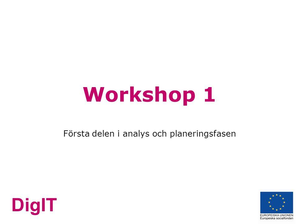 DigIT Workshop 1 Första delen i analys och planeringsfasen