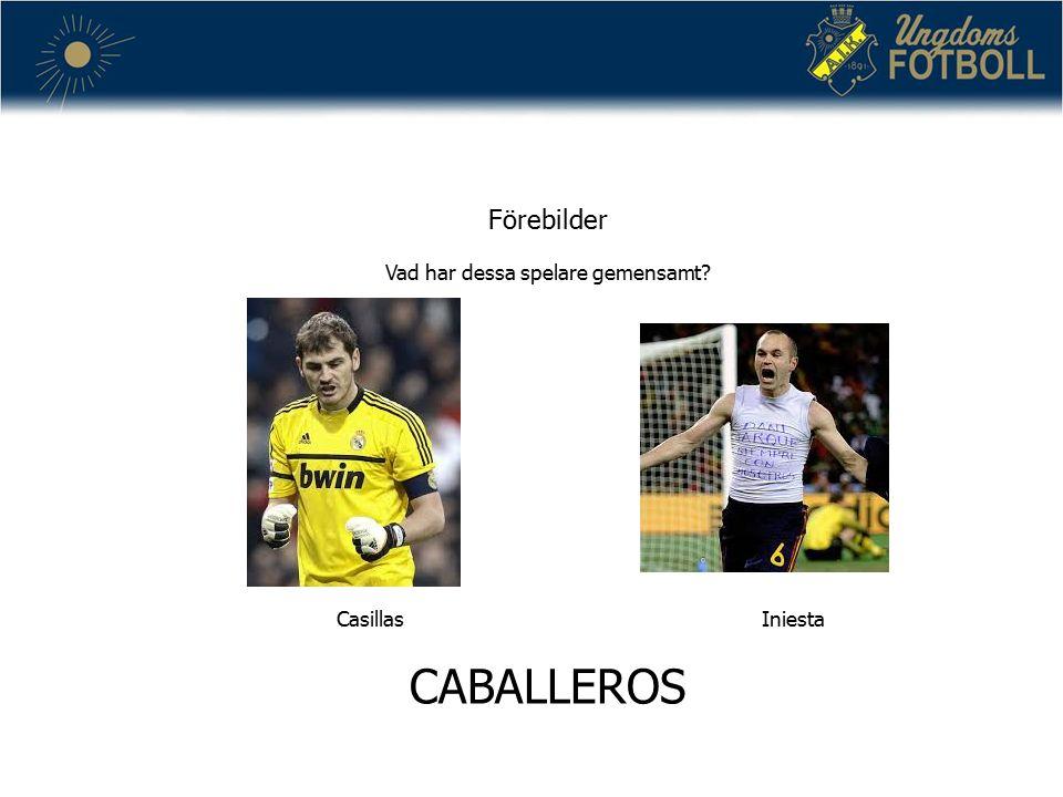 Förebilder Vad har dessa spelare gemensamt CasillasIniesta CABALLEROS
