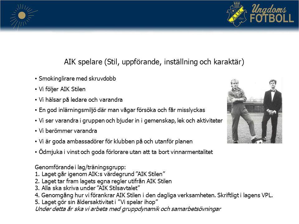 AIK spelare (Stil, uppförande, inställning och karaktär) Smokinglirare med skruvdobb Vi följer AIK Stilen Vi hälsar på ledare och varandra En god inlä