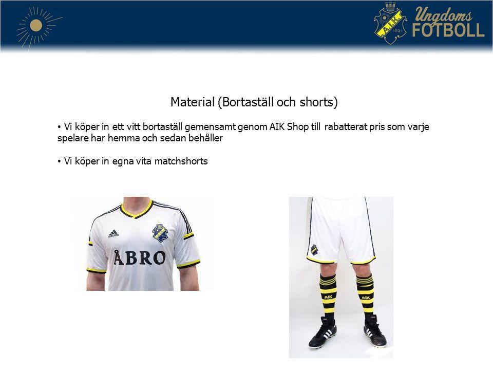 Material (Bortaställ och shorts) Vi köper in ett vitt bortaställ gemensamt genom AIK Shop till rabatterat pris som varje spelare har hemma och sedan behåller Vi köper in egna vita matchshorts