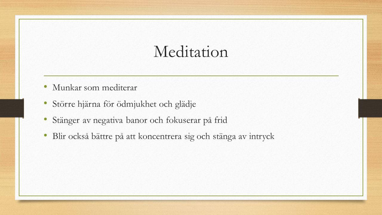 Meditation Munkar som mediterar Större hjärna för ödmjukhet och glädje Stänger av negativa banor och fokuserar på frid Blir också bättre på att koncentrera sig och stänga av intryck