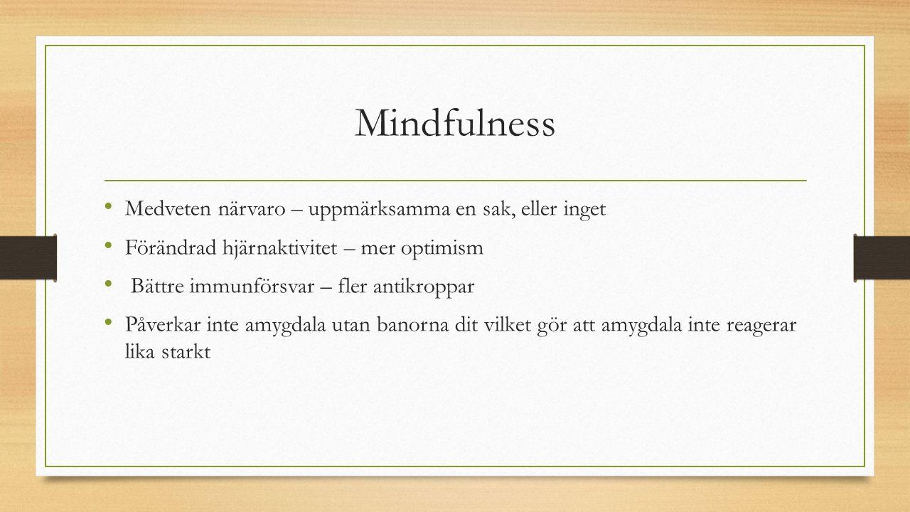 Mindfulness Medveten närvaro – uppmärksamma en sak, eller inget Förändrad hjärnaktivitet – mer optimism Bättre immunförsvar – fler antikroppar Påverkar inte amygdala utan banorna dit vilket gör att amygdala inte reagerar lika starkt