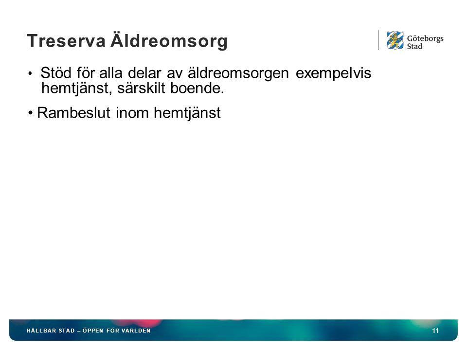 HÅLLBAR STAD – ÖPPEN FÖR VÄRLDEN 11 Treserva Äldreomsorg Stöd för alla delar av äldreomsorgen exempelvis hemtjänst, särskilt boende.