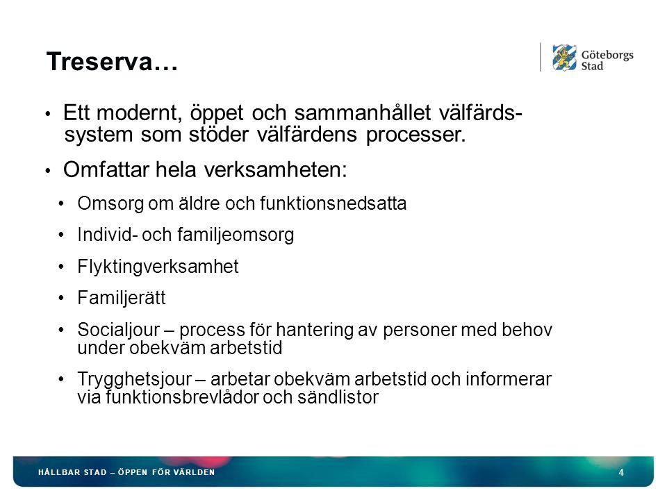 4 HÅLLBAR STAD – ÖPPEN FÖR VÄRLDEN Treserva… Ett modernt, öppet och sammanhållet välfärds- system som stöder välfärdens processer.