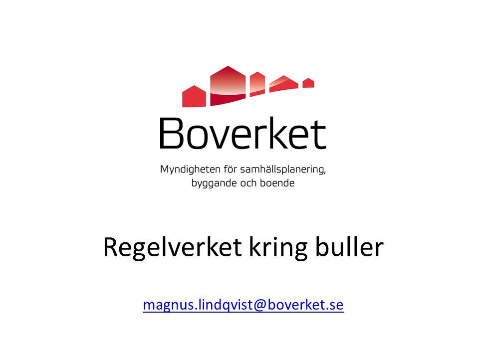 2 september 2015 Regelverket kring buller magnus.lindqvist@boverket.se