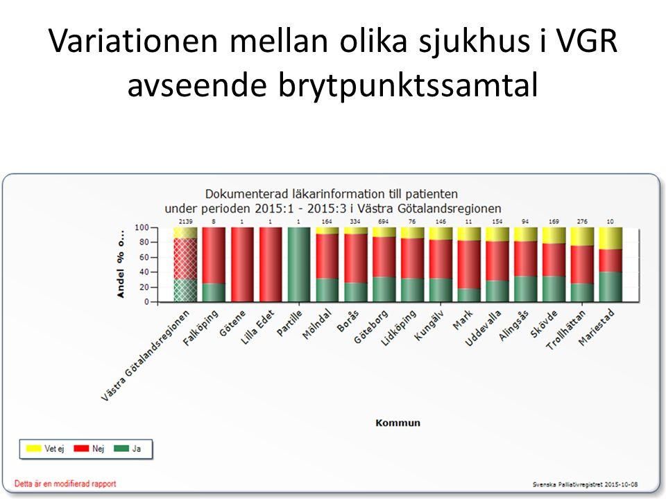 Variationen mellan olika sjukhus i VGR avseende brytpunktssamtal