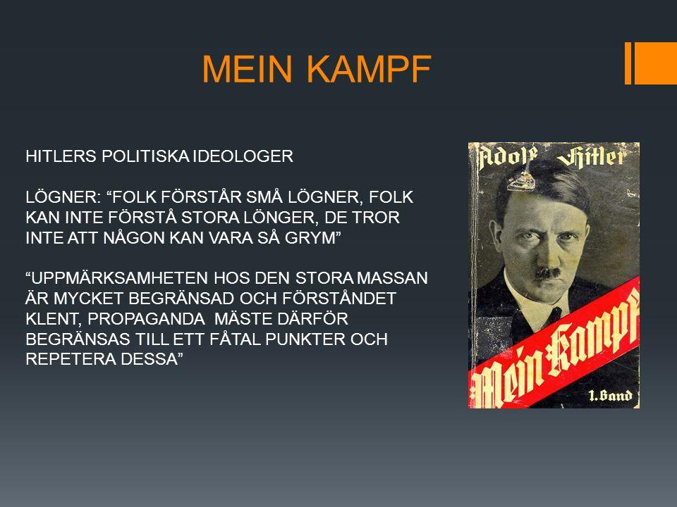 """MEIN KAMPF HITLERS POLITISKA IDEOLOGER LÖGNER: """"FOLK FÖRSTÅR SMÅ LÖGNER, FOLK KAN INTE FÖRSTÅ STORA LÖNGER, DE TROR INTE ATT NÅGON KAN VARA SÅ GRYM"""" """""""