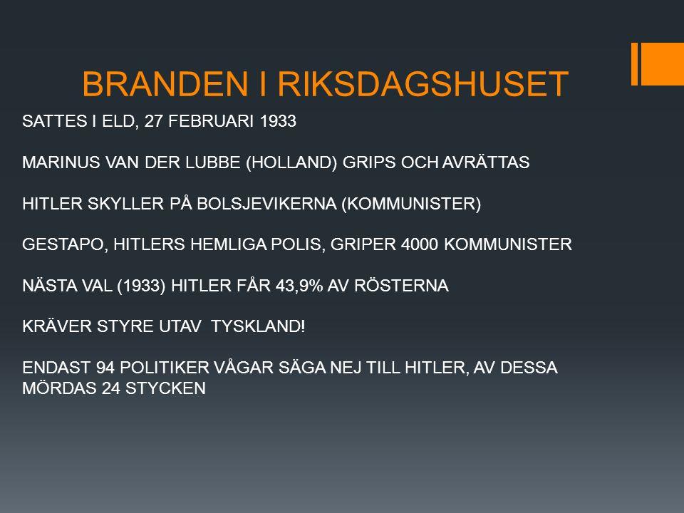 BRANDEN I RIKSDAGSHUSET SATTES I ELD, 27 FEBRUARI 1933 MARINUS VAN DER LUBBE (HOLLAND) GRIPS OCH AVRÄTTAS HITLER SKYLLER PÅ BOLSJEVIKERNA (KOMMUNISTER) GESTAPO, HITLERS HEMLIGA POLIS, GRIPER 4000 KOMMUNISTER NÄSTA VAL (1933) HITLER FÅR 43,9% AV RÖSTERNA KRÄVER STYRE UTAV TYSKLAND.