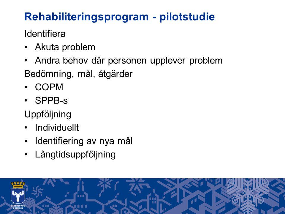 Rehabiliteringsprogram - pilotstudie Identifiera Akuta problem Andra behov där personen upplever problem Bedömning, mål, åtgärder COPM SPPB-s Uppföljning Individuellt Identifiering av nya mål Långtidsuppföljning